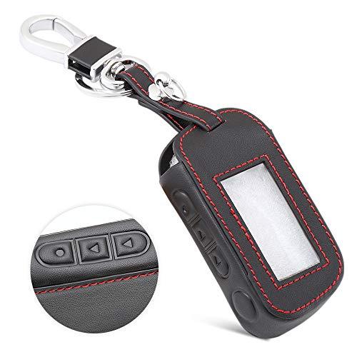 LINGZIA LCD-Fernbedienung Schlüsselbund Schlüsselanhänger Abdeckung, Leder Schlüsseletui, für Starline A93 A63 A39 A36 Zweiwege-Autoalarm, A.