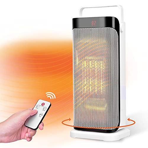 Electric Space Heater - 1500W Fast Heating Portable Oscillating Ceramic Tower Heater for Office Home Use, with Remote Control, Timer, Auto Shut, Black