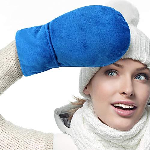 ICEHOF Wärme-Handschuhe (1 Paar) Lavendel & Natürlichen Tonperlen - Weicher Stoff, abnehmbar - Wärme-Therapie Arthritis Triggerfinger Karpaltunnelsyndrom Handwärmer Mikrowelle OneSize (Blau)