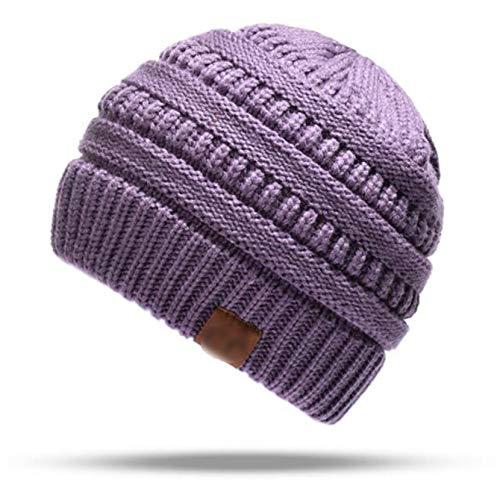 N / A Sombrero De Mujer Knit Skull Beanie Winter, Gorro De Cola De Caballo Desordenado para Corredor Al Aire Libre, Gorro De Punto De Moda con Agujero De Cola De Caballo(Color:Púrpura)