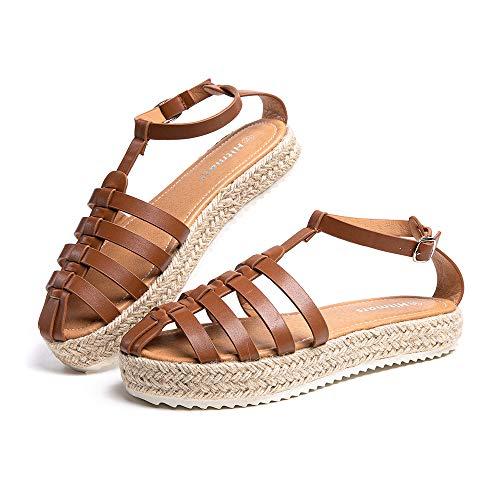 Sandalias Mujer Verano Plataforma Alpargatas Cuña Comodas Zapatos de Vestir Tacón Hebilla Tobillo Cerrado Marrón-7 42 EU