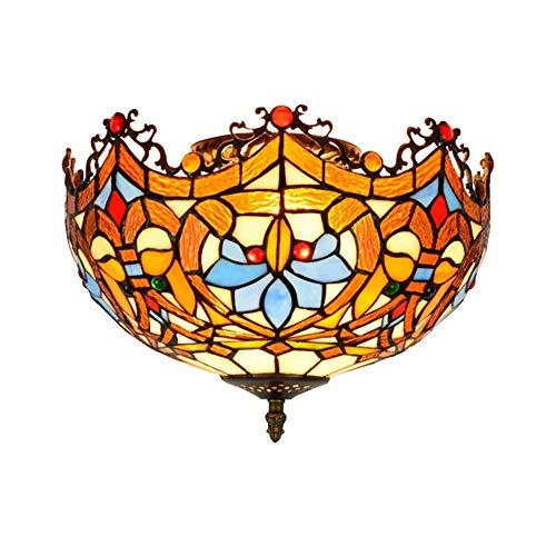 AIDSON Tiffany Pendelleuchte Vintage Design Wohnzimmer Esszimmer Veranda Korridor Balkonzubehör Hängelampe Runde Pastorale Rustikale Glasmalerei Dekoration Deckenbeleuchtung E27,40W-D30cm