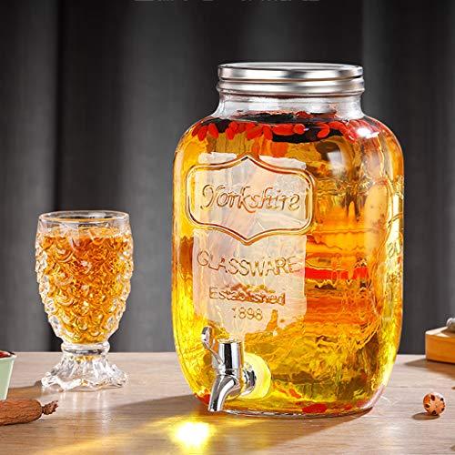 Bucket Yxx@ Dispensador de Bebidas con Grifo Recipiente de Vidrio Botella de Cristal Garrafa con dosificador 4KG,5KG,8KG