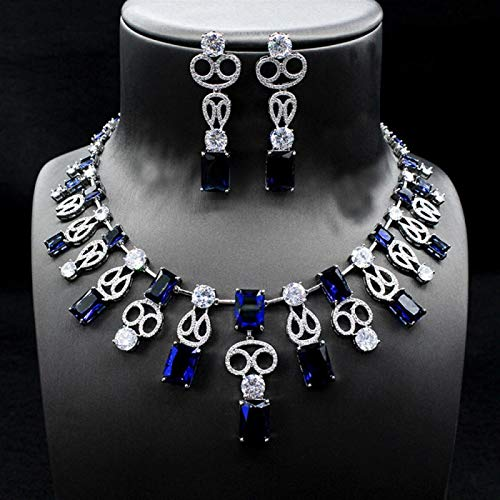 SLFDXDP Conjuntos de Joyas Big Square CZ Jewelry Sets Brilliant Cubic Circon Pendientes De Boda Pendientes Collar Conjuntos De Joyería para Mujer (Color : Blue)