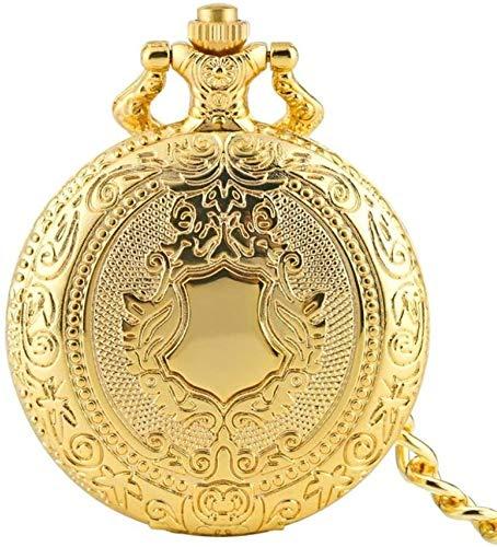 N / A Reloj de Bolsillo, Cadena de Oro Campanas Escudo del Cuarzo del diseño del Collar del Reloj de Bolsillo de Moda Vintage Regalos Casual Steampunk observa Mientras