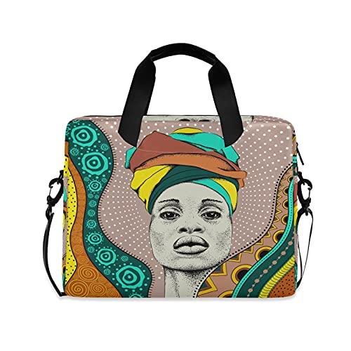 JNlover - Bolsa para ordenador portátil (16 pulgadas), diseño tribal de mujer africana con lunares