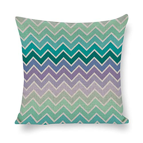 YY-one Decorative Pillow Covers Teal Lilac Ombre Chevron Pattern Throw Pillow Case Cushion Cover Home Office Decor,Square 22 X 22 Inches