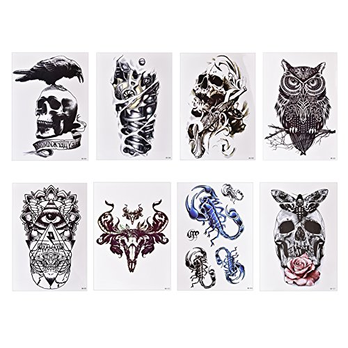 Bulary Tatouage Temporaire Homme Tatoo Stickers 8pcs
