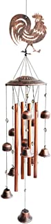 BLESSEDLAND Metal Rooster Wind Chimes-4 Hollow Aluminum Tubes -Wind Bells and Metal Rooster-Wind Chime with S Hook for Ind...
