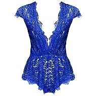 Ruzishun Sexy Lingerie for Women Lace Teddy Lingerie Deep V Open Plus Size Nightgown