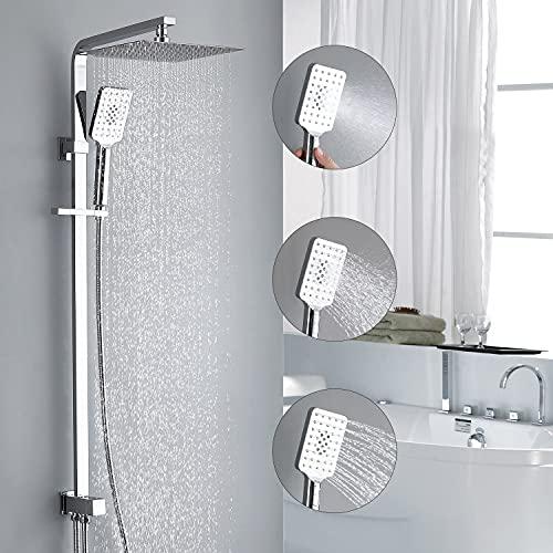 HOMELODY Duschset ohne Armatur 3 -Funktions-Duschsystem mit Überkopfbrause und Handbrause Duschsäule Duschsystem mit Umsteller