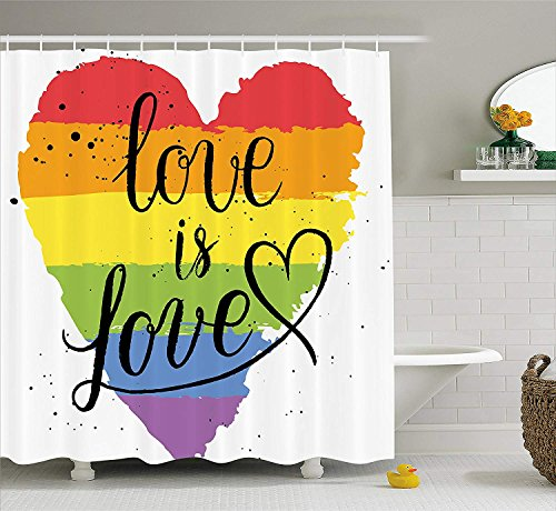 JAMES STRAIN Pride Decorations Shower Curtain, LGBT Gay Lesbian Parade Love is Love Hand Writing Paint Strokes Artistic, Fabric Bathroom Decor Set with Hooks, 70 Inches, Multicolor
