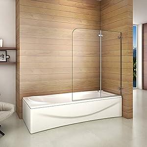 Biombo de Bañera Abatible, Mampara Panel Bañera 110x140cm