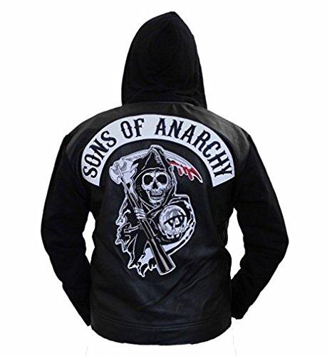 SOA Sons of Anarchy - Chaqueta de piel con capucha