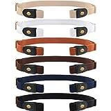 6 Piezas Cinturón Elástico sin Hebilla de Unisex Cinturón Invisible Ajustable para Patalones Vaqueros Faldas (Dorado)