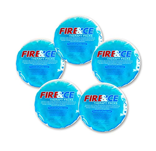 Fire & Ice Hot Cold Gel Packs - 5 Reusable Therapy Pads. Use Microwave Hot or Freezer Cold for Injuries, Arthritis Pain, Tired Eyes, Child Boo Boos. Place in Lunch Boxes and Coolers to Keep Food Fresh