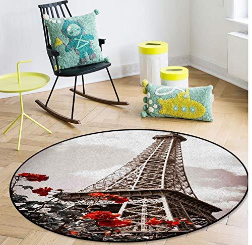 QAQV Alfombras y tapetes con diseño Retro de la Torre Eiffel Sala de Estar en el hogar Alfombra Redonda para1,2 m de diámetro