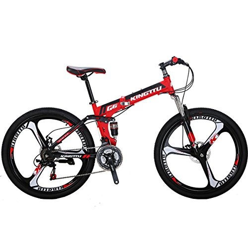 Eurobike SL-G6 Mountain Bike 21 Speed 26 Inches 3-Spoke Wheels Folding Bicycle(RED)