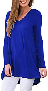 Nobrand Women's V-Neck Printed Long Sleeve T-Shirt Loose Women's Irregular top