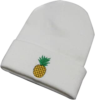 Women's Girl's Beanies Pineapple Embroidered Elastic Winter Cotton Knitted Stocking Cuffed Cap Hat