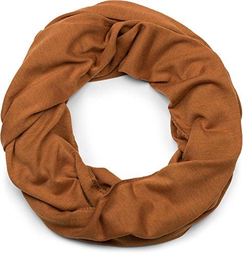 styleBREAKER unifarbener leichter Jersey Loop Schal, Schlauchschal, Tuch, Einfarbig, Unisex 01016115, Farbe:Cognac