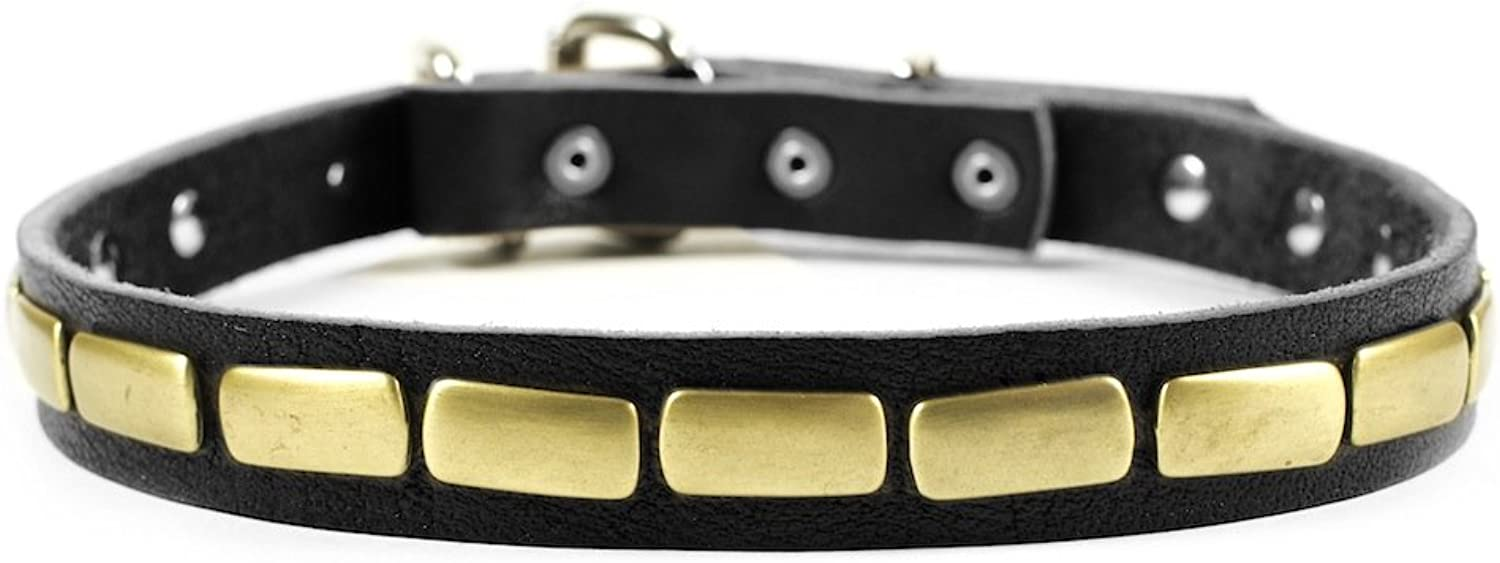 Dean and Tyler  PLATED BEAUTY  Dog Collar  Nickel Hardware  Black  Size 61cm x 3cm Width. Fits neck size 22 Inches to 26 Inches.