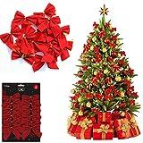 Guilty Gadgets Paquete de 12 lazos de terciopelo rojo para decoración del árbol de Navidad para el hogar, Navidad, regalos de cumpleaños, ira, con lazos dorados, 8 cm x 9 cm