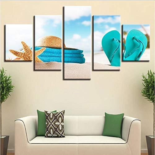 Pinturas en lienzo Arte de la pared Impresiones en alta definición Imágenes 5 Piezas Cartel de estrella de mar Modular Verano Playa Sombrero de paja Chanclas Decoración para el hogar Marco