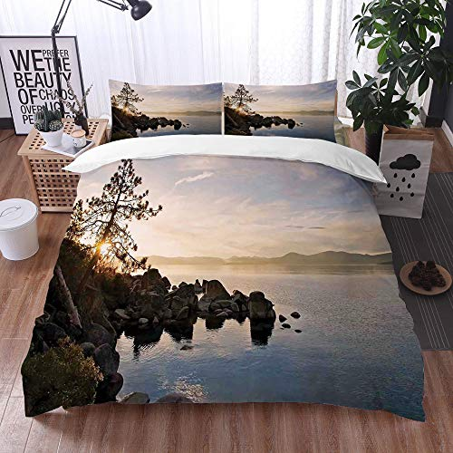 bedding - Duvet Cover Set,Lake,Lake Tahoe at Sunset with Clear Sky and Single Pine Tree Rest Peaceful Weekend Photo,Blue Grey,Microfibre Duvet Cover Set 260 x 220cm with 2 Pillowcase 50 X 75cm