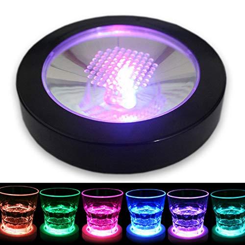Dessous de verre lumineux à LED - Forme ronde - Pour bouteille de bière, verre à vin, verre à bière, verre à vin, tapis lumineux pour maison, fête, club, bar Black Shell,1pc