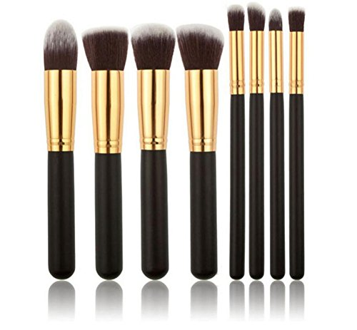 Vi.yo pinceaux de maquillage Set 8Pcs Professional Foundation Concealer Brush poudre liquide Pinceaux cosmétiques outil Set pour le visage et les yeux (8Piece noir et poignée de brosse dorée)