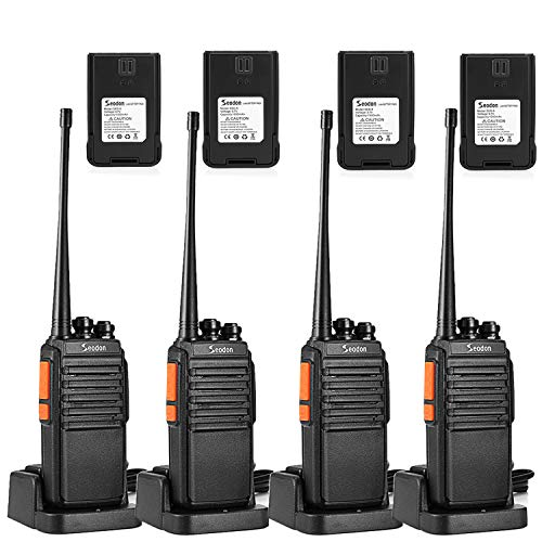 Seodon Walkie Talkies for Adult Long Range with 8 Batteries Rechargeable Two 2 Way Radios Walkie Talkie 4 Pack Walky Talky with Headsets/Earpieces