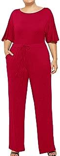 GoodLock (TM)🍃Women's Sexy Lace up Jumpsuit🍃Hot!! Summer Plus Size Patchwork Loose Casual Romper Playsuit Wide Leg Pants