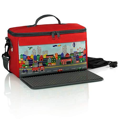 fantifant Baustein-Tasche mit ausklappbarer Bauplatte | kompatibel mit Lego und Anderen Bausteinen regulärer Größe | 2 Netzbeutel| Citymotiv | feuerwehrrot