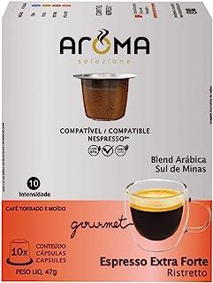Cápsulas de Café Espresso Extra Forte Aroma, Compatível com Nespresso, Contém 10 cápsulas
