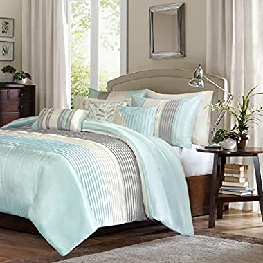 Madison Park Amherst Duvet Cover King Size - Aqua, Ivory, Grey, Pieced Stripes Duvet Cover Set – 6 Piece – Ultra Soft Microfiber Light Weight Bed Comforter Covers