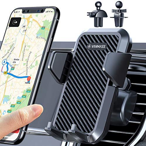 VANMASS Handyhalterung Auto Lüftung 2021 Handyhalter fürs Auto Kfz Handyhalterung mit 2 Upgrade Lüftungsclips 100{4cee10e12c7fa865f08e6596a53230f53fda4b7ee2f80092cf238382f6c63ad4} Silikonschutz Smartphone Halterung Auto 360° Drehbar für iPhone Samsung Huawei LG usw