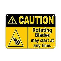 注意回転刃はいつでも動く可能性があります。 注意 金属板ブリキ看板警告サイン注意サイン表示パネル情報サイン金属安全サイン