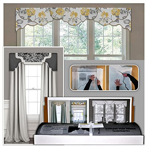 DIY Cornice Valance Kit, No Sewing, 3 Styles in One Kit, All Window Sizes, Including Bay Windows, Reusable, Pattern, No-Sew Room Decor, Bedroom, Living Room Dining Room, Kitchen Curtain