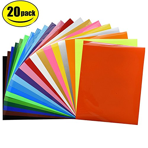 """Heat Transfer Vinyl Bundle 12""""x10""""- 20 Pack of Assorted Color DIY T-Shirt Vinyl Transfer Sheets -Best Iron On HTV Vinyl for Silhouette Cameo, Cricut - or Use with Heat Press Machine"""