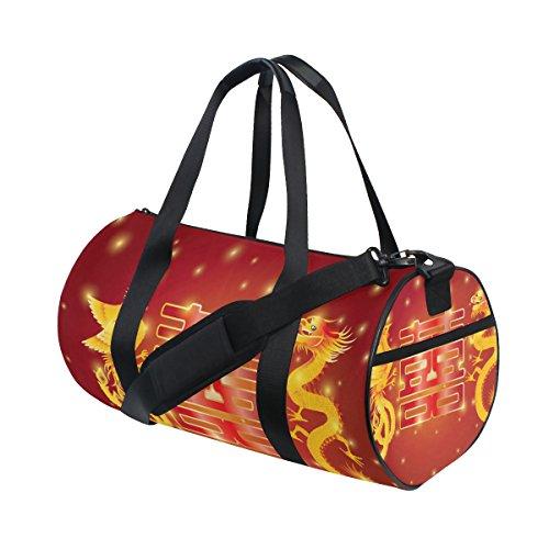Tizorax Dragon e PHOENIX double Happiness Red palestra borsone bag drum fitness Rooftop rack bag
