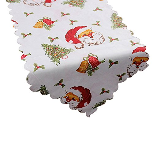 Amlaiworld Mantel Decorativo Navidad Santa Claus Tapiz Poinsettia Camino de Mesa Mantel 14x71 Pulgadas (B)