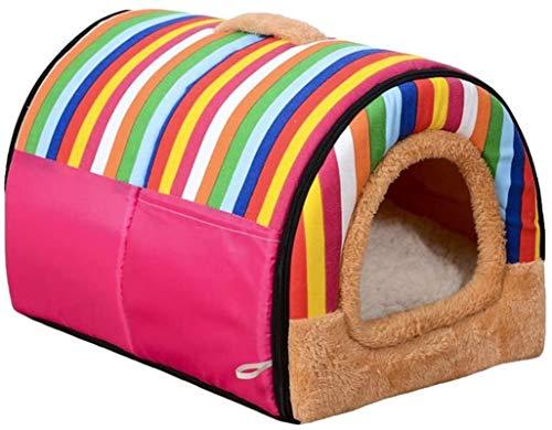 YAOSHUYANG Perro Cama 2 en 1 Pet Dog Cat House and Sofa con Lavable Plegable Removible Soft Water Cara Cama Cojín Desmontable para Perro y Gato, B, L (Color : B, Size : Large)