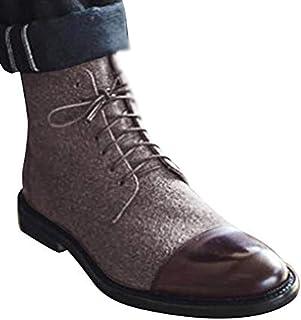 Minetom Chaussures en Cuir pour Hommes Affaire Bureau Lacets Derbies Mocassins Casual Antidérapantes Oxford Bottes Bloc de...