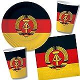 48-TLG. Party-Set * DDR * mit 10 Teller + 10 Becher + 20 Servietten + Deko für Motoparty und Geburtstag | Perfektes Mottiv für eine Nostalgie-Ostalgie-Party