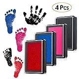 Baby Stempelkissen Fuß oder Hand Abdruckset Handabdruck Fußabdruck wiederverwendbare für Babys ungefährlich(Schwarz,Blau, Rosa,Rot)