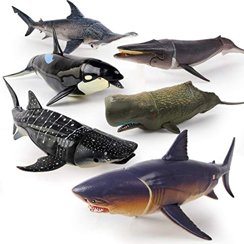 """Winsenpro Jumbo Shark Toys,6 Pack 10"""" Realistic Shark Whale Figures with Moveable Jaw Bath Toys Set for Boys,Girls,Kids Birthday Party Favors (6pcs Large Shark Toys)"""