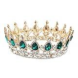 Frcolor Couronne de mariée Vintage cristal strass Reine Tiara pour fiançailles de mariage (vert)