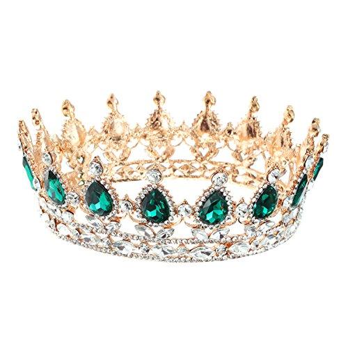 Frcolor nuziale vintage cristallo STRASS corona Regina tiara per fidanzamento e matrimonio (verde)