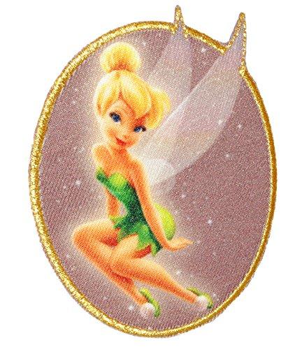 alles-meine.de GmbH Bügelbild -  Disney - Fairies - Tinkerbell  - 7,2 cm * 9 cm - Aufnäher Applikation mit Glitzer Effekt - Peter Pan - gewebter Flicken - Jungen & Mädchen - FA..